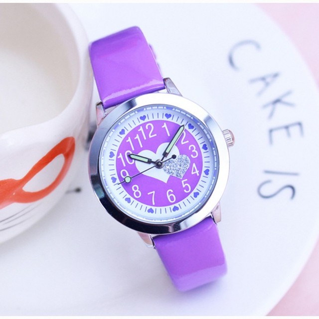 Dropshipping Fashion Leather Quartz Heart shaped kids cartoon WristWatch clock s