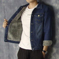 Plus Size Denim Jacket Men Winter Warm Woolen Denim Coat Male Thick Loose Coats Pocket Single