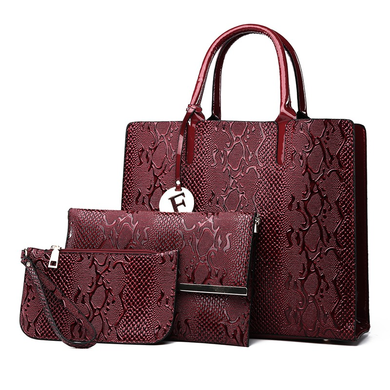 2a26ee7ab 3Pcs Snake Serpentine Women Handbags Set High Quality Pu Leather Shoulder  Tote Bag+Chain Female