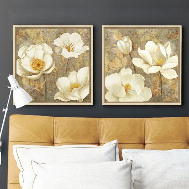 Golden White Flower Canvas Art Magnolia Painting Poster Print ...