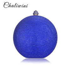 Chaliwini Round Wine Pot  Crystal Clutch Evening Bag Mini Metal Minaudiere Clutches Wedding Party Bridal Shoulder Handbag Purse xiyuan brand pineapple shape red yellow crystal women evening purse metal clutch bag wedding dinner minaudiere handbag wallet