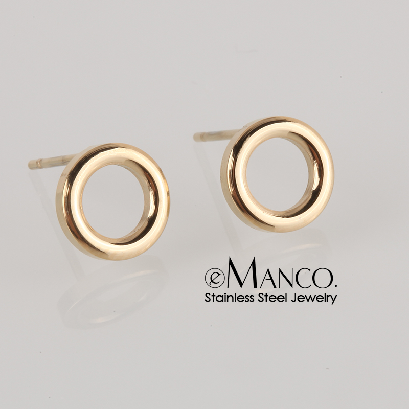 e-Manco Ladies Small Round Safety Pin Earrings women Stainless Steel Earrings Trending Ear Ring Studs Jewelry