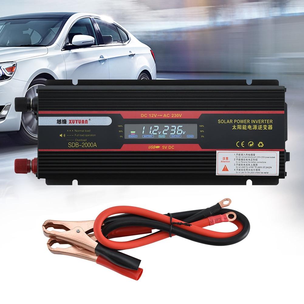 6000W LCD affichage en alliage d'aluminium puissance universelle prise noir voiture onduleur modifié onde sinusoïdale USB convertisseur indicateur lampe