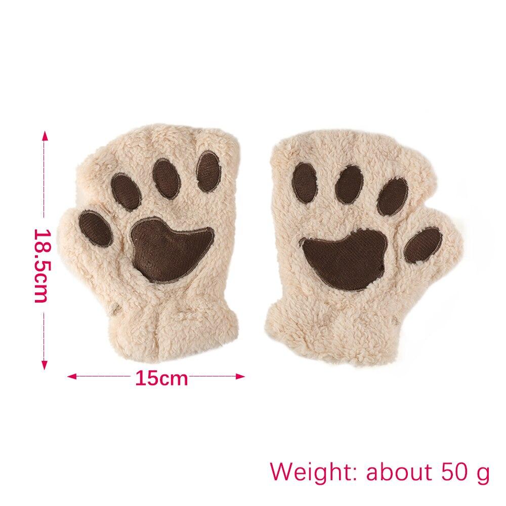 1Pair Women Girls Lovely Winter Warm Fingerless Gloves Fluffy Bear Cat Plush Paw Claw Half Finger