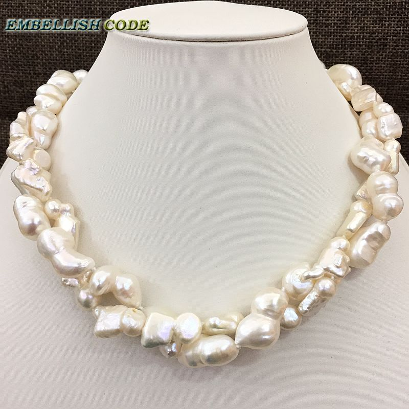все цены на NEW kind of large size Baroque keshi stely Peanut and elongate shape twisted natural freshwater pearl statement necklace jewelry