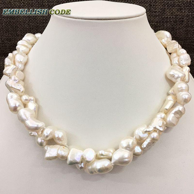 Nouveau type de grande taille Baroque keshi stely cacahuète et forme allongée torsadé naturel perle d'eau douce déclaration collier bijoux