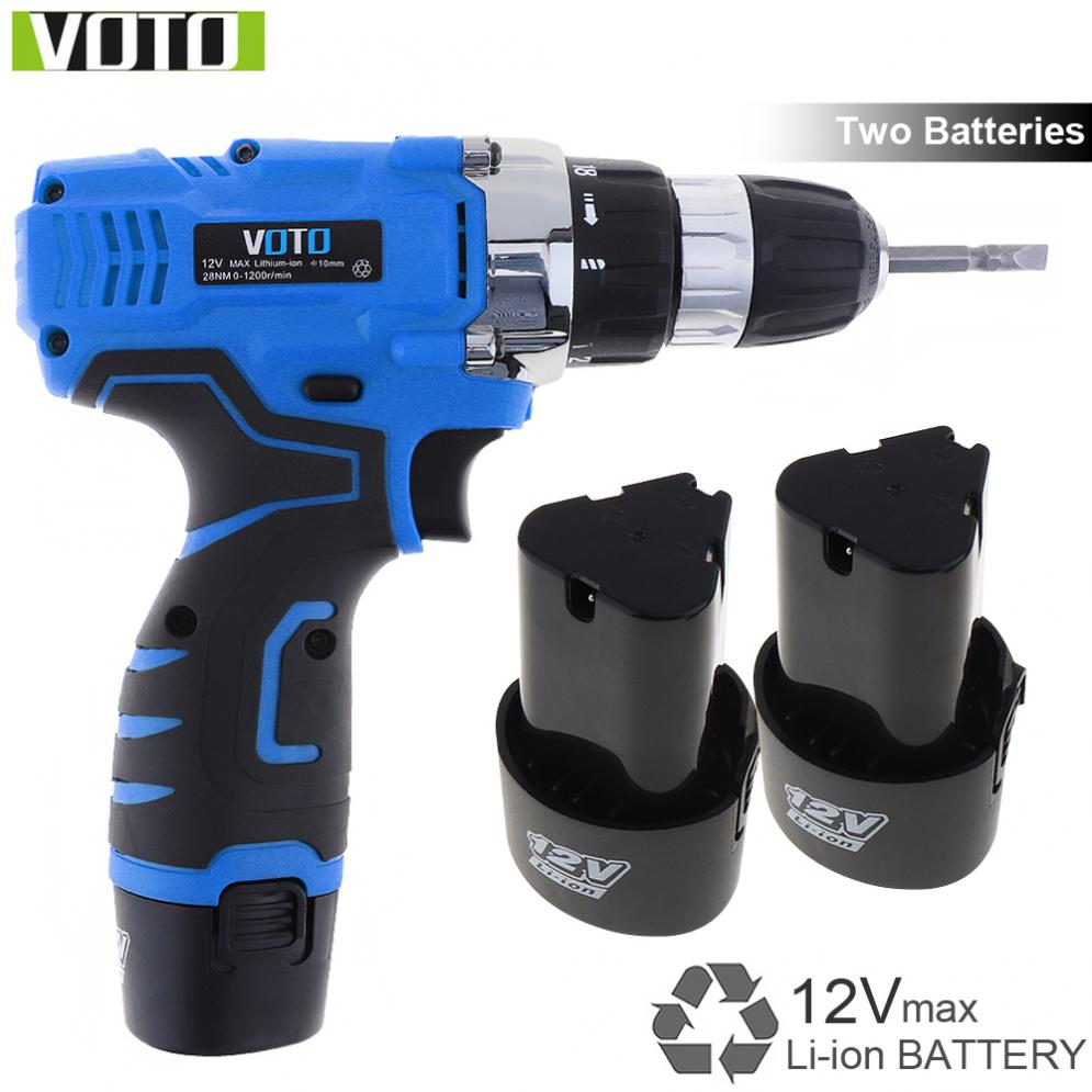 VOTO AC 100 240V Cordless 12V Electric Screwdriver Drill with Two speed Adjustment Button and 2