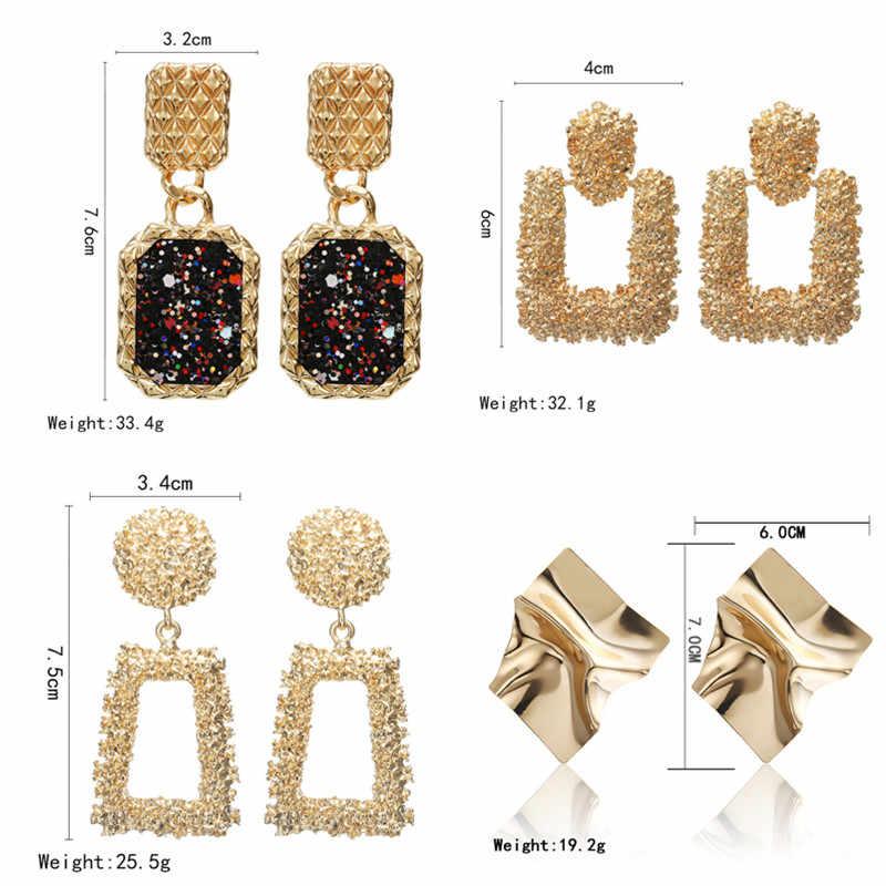 2019 w stylu Vintage kolczyki duże dla kobiet oświadczenie kolczyki geometryczne złoty kolor wisiorek metalowy kolczyki trend moda biżuteria