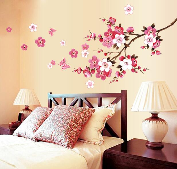 цена на Romantic Sakura Flowers Wall Stickers Home Decorations Living Bedroom Office DIY Floral Decals TV Background Mural Art