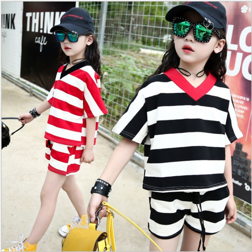 Summer Children Clothing Kids 2pcs Sport Suits Shorts For Girls Tracksuits Costume Red And Black Stripe Girls Clothing Set 4-12y autumn children boys girls clothing set toddler blue starry sky print clothes kids sport suits hoodies and pants 2pcs tracksuits
