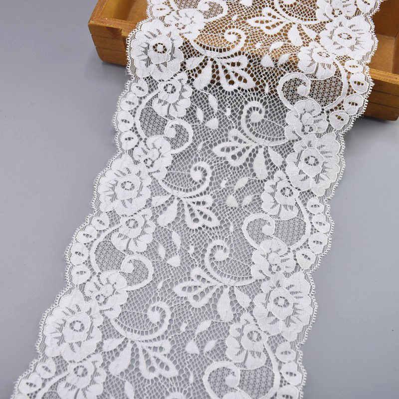 Yeni Liste Elastik Beyaz Dantel Şerit Afrika Dantel Kumaş Dikiş esneklik Işlemeli Dantel Trim Düğün Giyim Aksesuarları