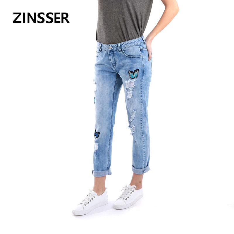 Autumn Winter Women Denim Regular Pants Stretch Destroyed Medium Waist Acid Snow Blue Slim Elastic Ripped Lady Jeans, Patches
