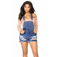 Fashion sexy Hole Denim Overalls Women summer Jumpsuit Denim Rompers lady Playsuit Salopette Straps Overalls Short ripped jeans roll up hem ripped denim overalls