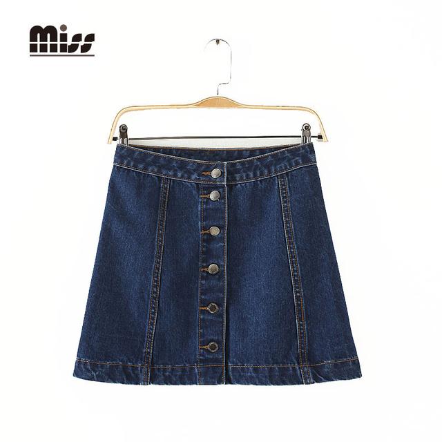 SEÑORITA 2016 Nuevas Mujeres Del Estilo Del Verano Denim Mini Falda de Una Línea Botón azul Jeans Cortos de American Apparel de Cintura Alta Faldas de Jean T5B01