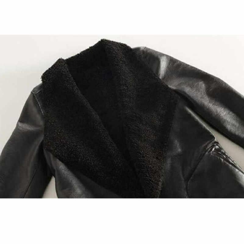 Для женщин осень-зима из шерсти ягнёнка, кашемир куртка из искусственной кожи с длинными большой Размеры толстом каблуке из овечьей кожи; кардиган, верхняя одежда, пальто, плюс Размеры W214