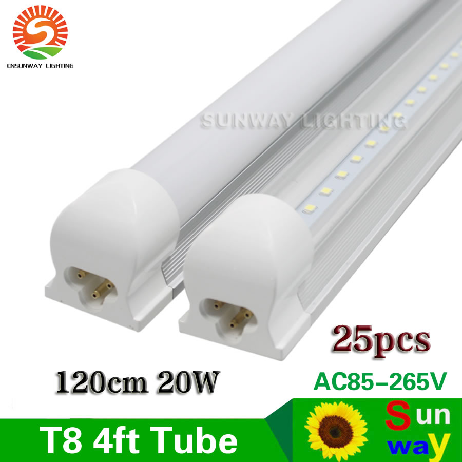 25 Pcs T8 Led Tube 1200mm 20W 4ft SMD2835 Bulbs Integrated