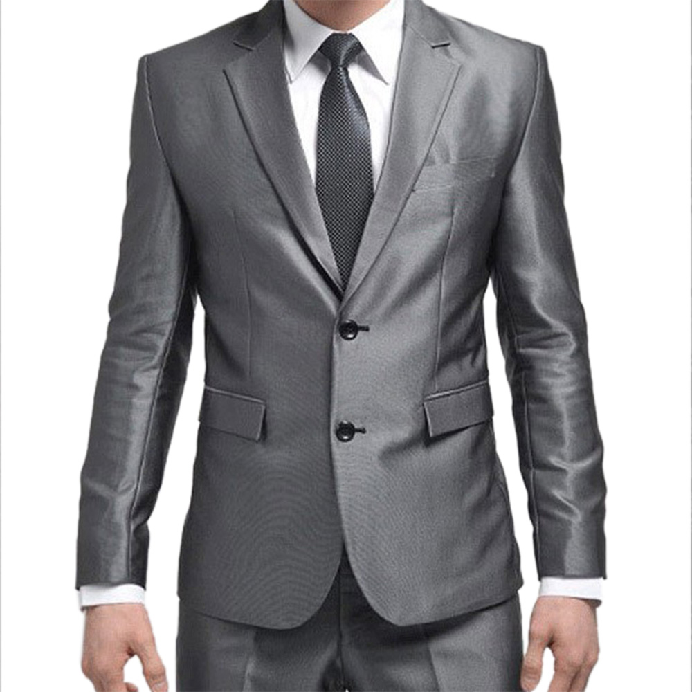 Formal Custom Mens Suits 2016 New Best Man Suit Silver Grey ...