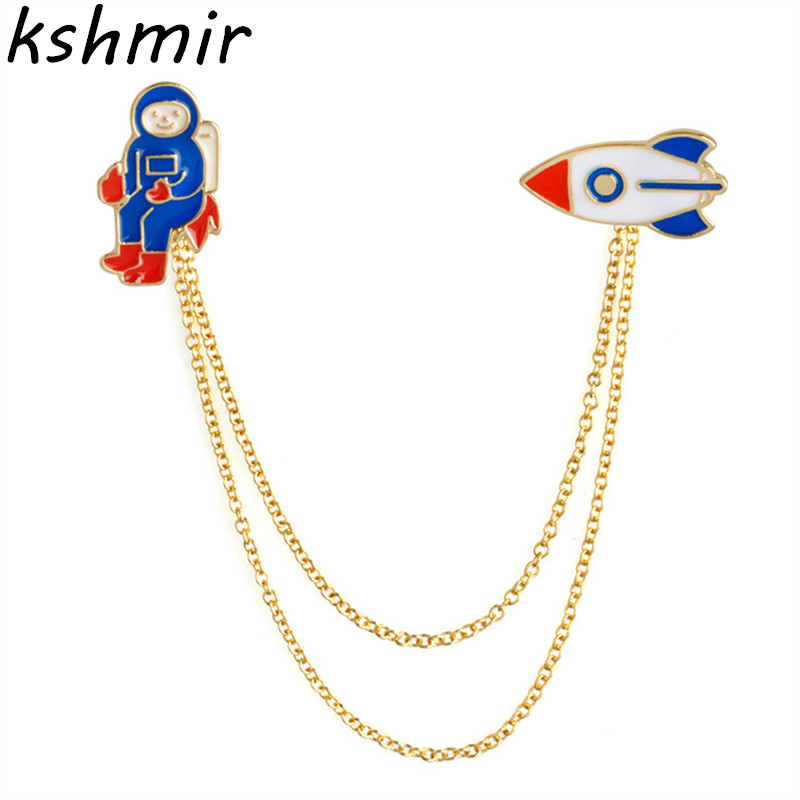 Ms fashion exquisite brooch round collar cartoon astronauts rocket ship brooch accessories in Brooches from Jewelry Accessories