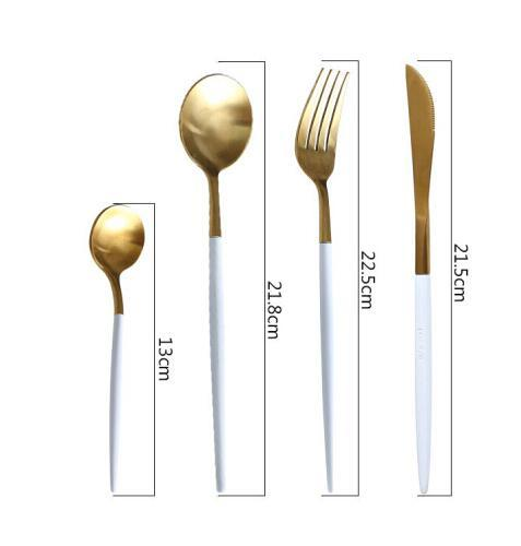 KINGLANG 304 Stainless Steel Golden And Silver Western Dish Steak Knife Fork Spoon Chopsticks Coffee.jpg 640x640 - tabletop-and-bar, flatware - The Olivia Cutlery Set - In White