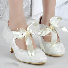 Satin Bridal Shoes Lace Wedding Dress Shoes fashion Lady New High Quality Round Toe Pumps Ivory Bowtie Evening Party Shoes