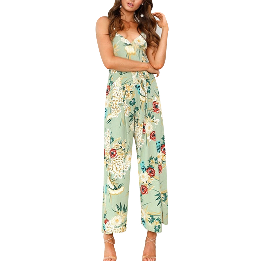 2018 Strap Floral Printed Jumpsuits Casual Beach Party Full Length Ladies Long Overalls Sexy Off Shoulder Womens Summer Rompers
