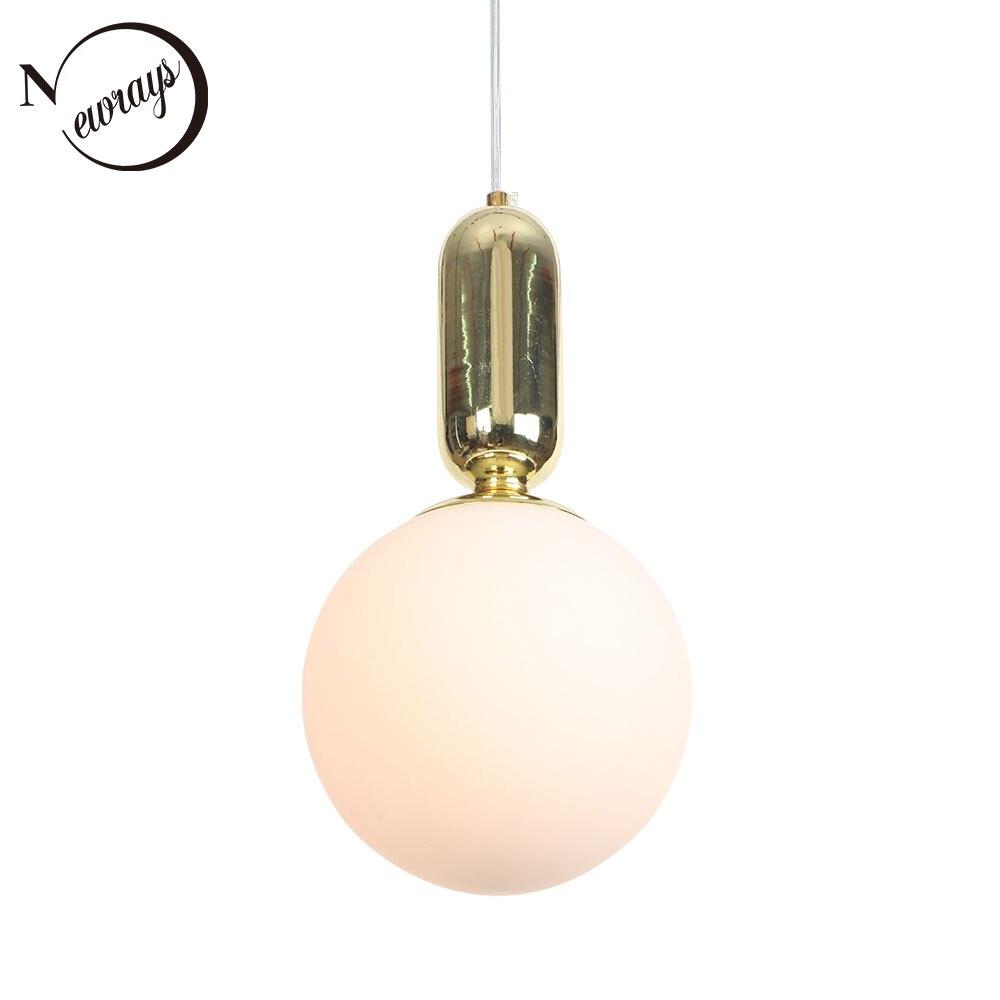 現代の人格球状ガラスシェードペンダントランプ E27 220 ボルト LED サスペンションペンダント照明器具寝室玄関スタディルームバー -