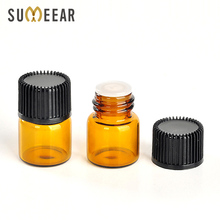 100Piece/Lot 1ML Amber Glass Essential Oil Bottle with Orifice Reducer and Cap  Small Glass Bottle for liquid Sample Test Bottle 5pcs clear small glass bottle 1ml sample vial for essential oil perfume tiny portable bottle