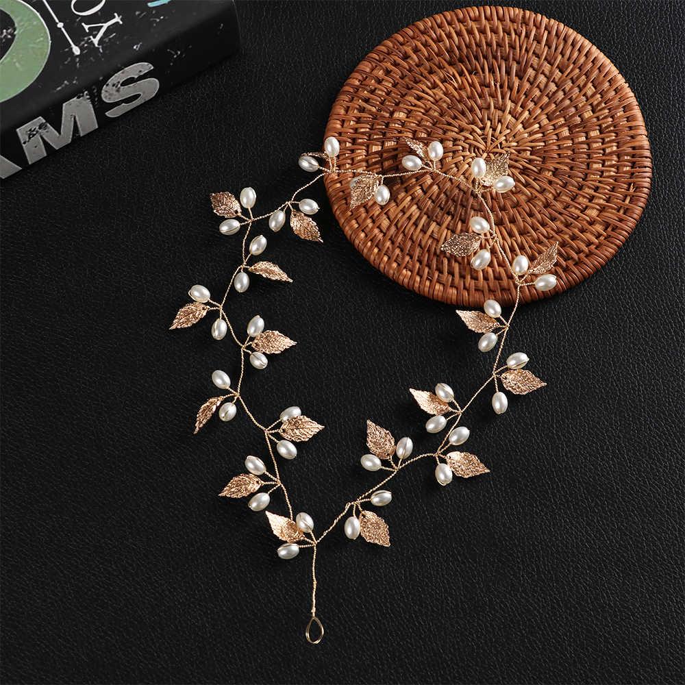 Nouveau luxe femmes cheveux bijoux perle cristal feuille mariée diadèmes mariage demoiselle d'honneur cheveux accessoires coiffure or argent chapeaux