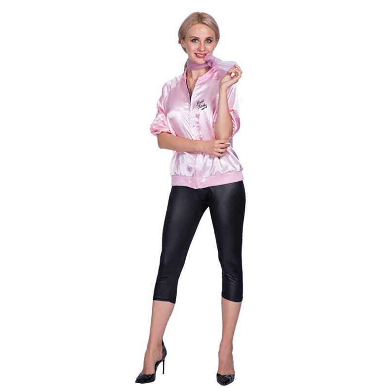 bc11d1e064 Adult Retro 1950s Classic Movie Satin Pink Ladies Grease Frenchy Rizzo  Fancy Dress Costume