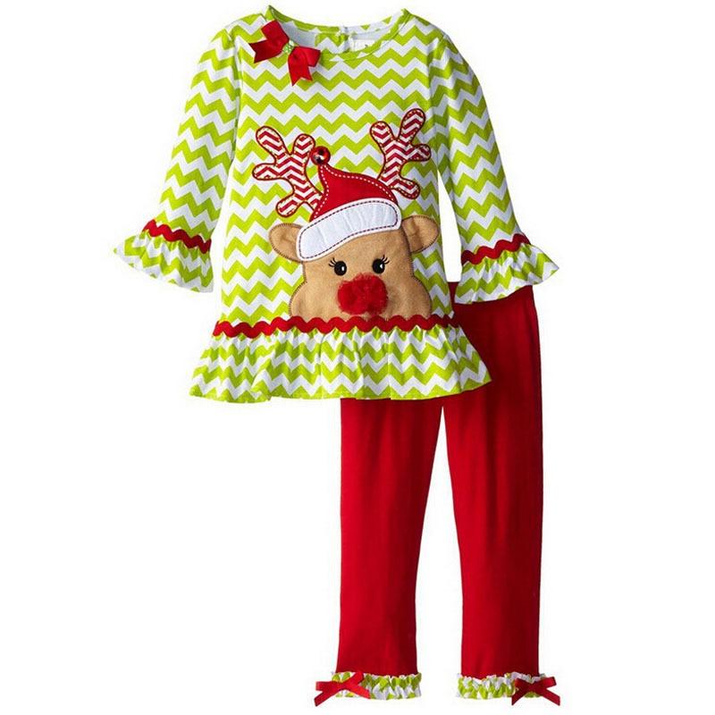 цена на Christmas Costume New Year Baby Boys Girls Shirt+pants 2pcs Santa Snowman Kids Clothes set Children Christmas clothing Set