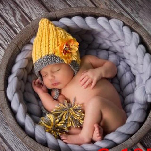 Baby Photography Props Blanket Wool Fiber Crochet Braid Chunky Knit Basket Stuffer Newborn Photography Blanket Background T0051