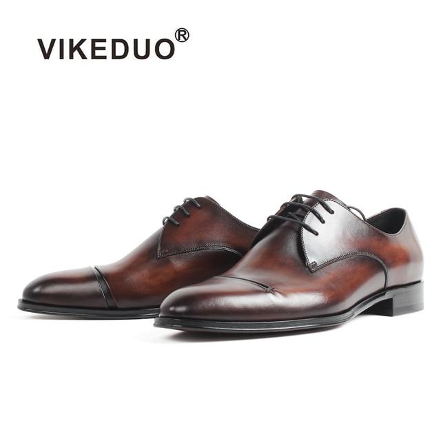 VIKEDUO Men's Derby Shoes Wedding Office Male Dress Shoes Vintage Patina Blake Bespoke Handmade Zapato de Hombre Formal Footwear