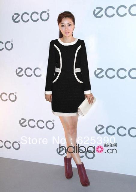 Autumn and winter dress KD star Xun Zhou Xiong Dailin with beaded dress slim long sleeve dress