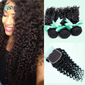 7A Malaysian Curly Hair With Closure Deep Wave With Closure Human Hair 3 Bundles With Closure Malaysian Virgin Hair With Closure