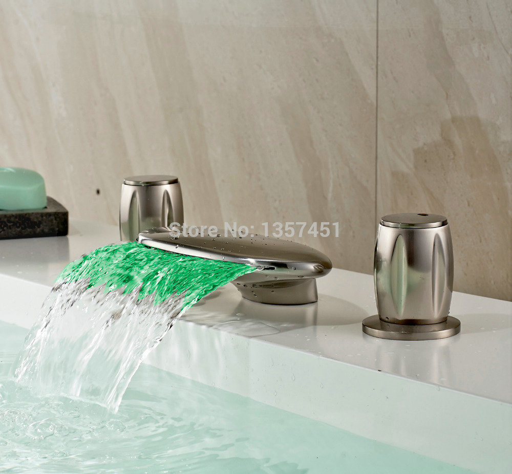 Waterfall Bathtub Light Up Faucet Picture More Detailed Picture About Brushed