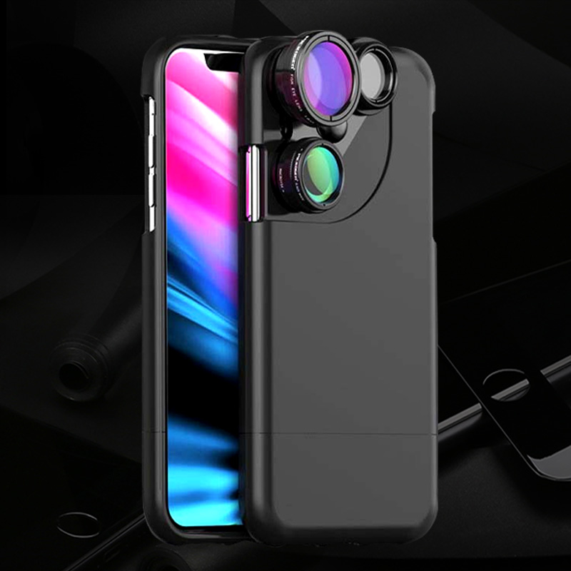 For Iphone X Lens New Four in One Photo Lens Wide angle Fish Eye Micro distance Increasing Rotary Disc Camera Cell Shell