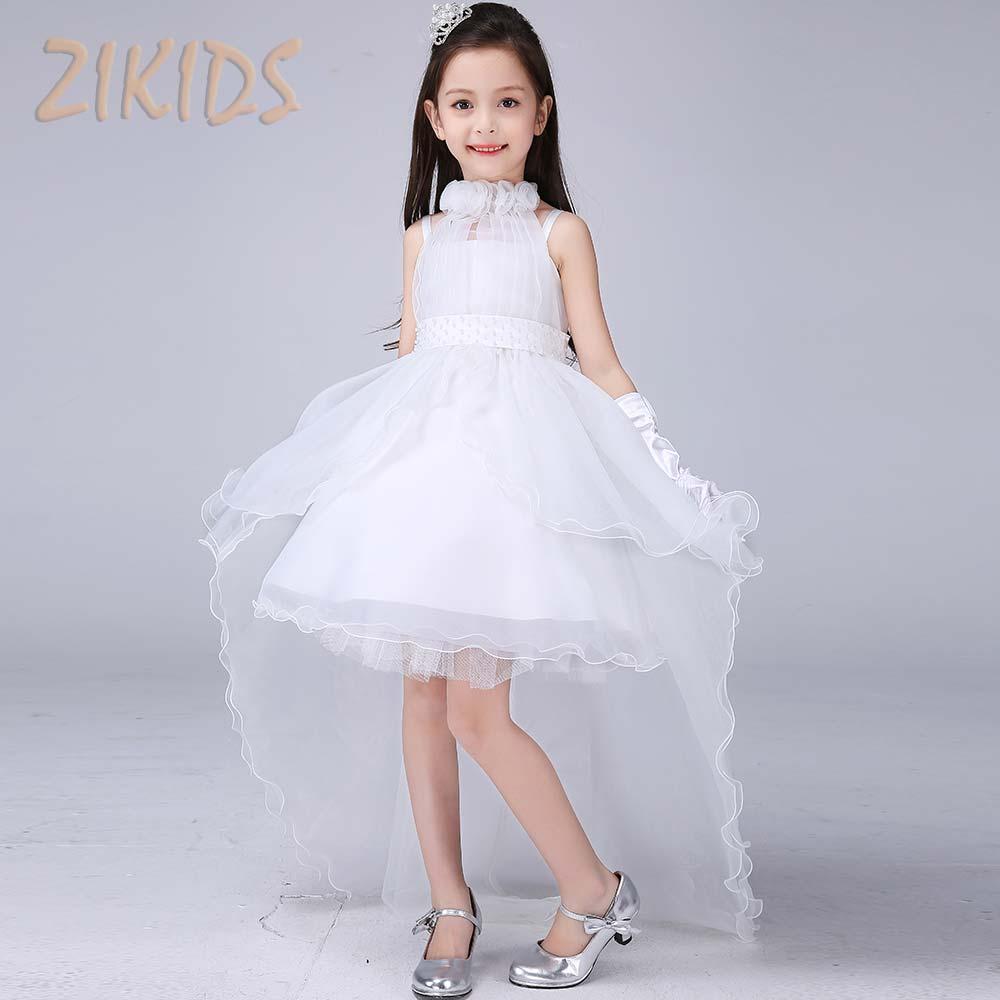 High Quality Luxury Flower Girls Dresses Party Wedding White Organza Trailing Princess Summer Dress Children Kids Clothes 2017