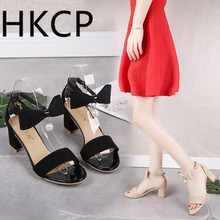 HKCP The new Korean version of the hipster suede one-button strap mid-heeled chunky peep-toe sandals for summer 2019 C053
