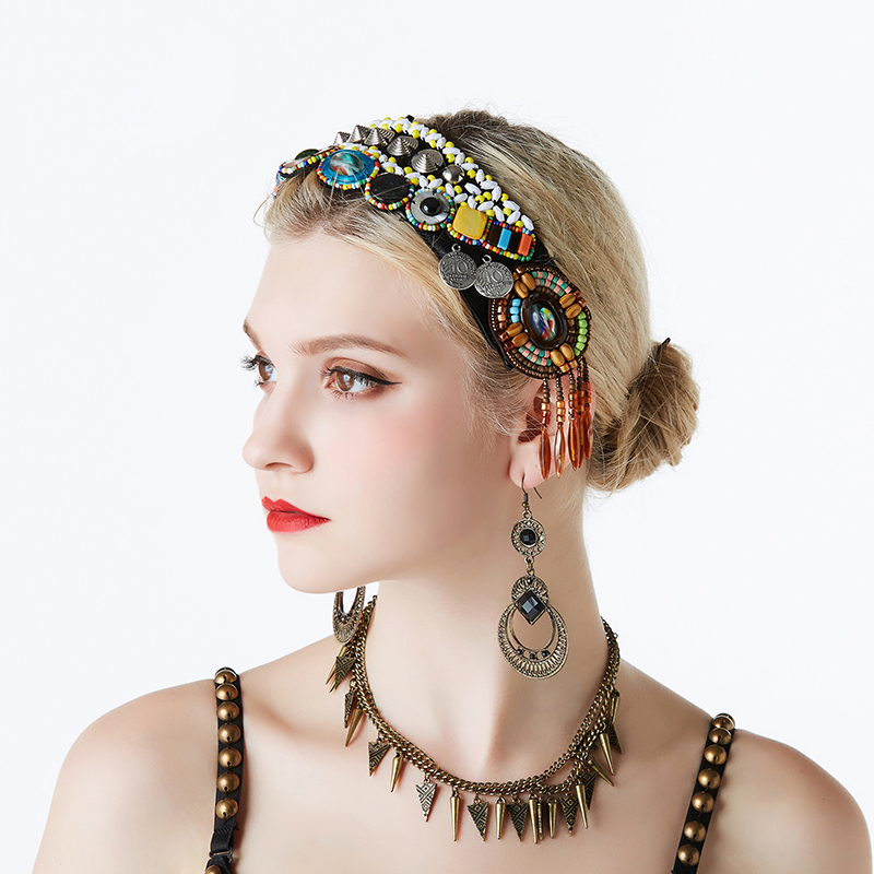 2019 Tribal Belly Dance Accessories Women Headpieces Dance Headbands Bellydance Beads Rhinestones Gypsy Vintage Headbands