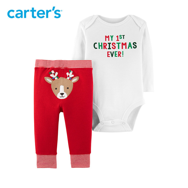 Carters Christmas clothing set 2 pcs reindeer striped pants bodysuits set  newborn boys baby girl clothes - Carters Christmas Clothing Set 2 Pcs Reindeer Striped Pants