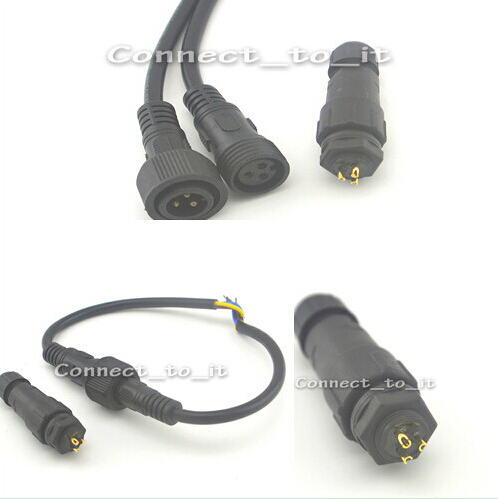 3pin Female & Male Plug Waterproof 3x0.75SQMM Led Light Strip Cable +  IP68 Waterproof Connector 3pin Panel  Adapter