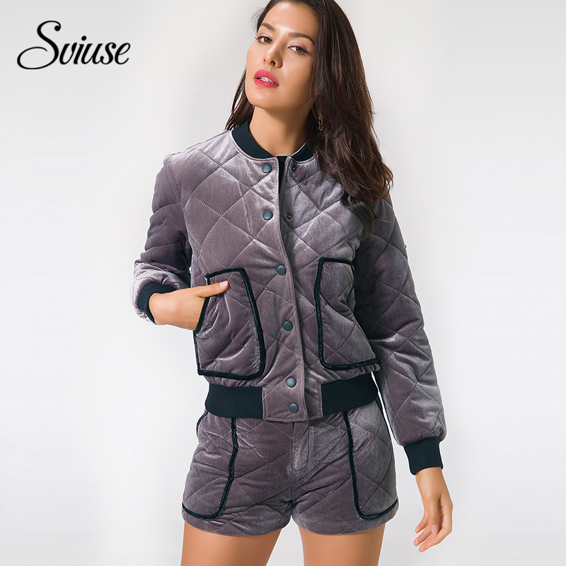 Women Velvet Bomber Jacket Coat Casual Pockets Buttons Padded Jacket