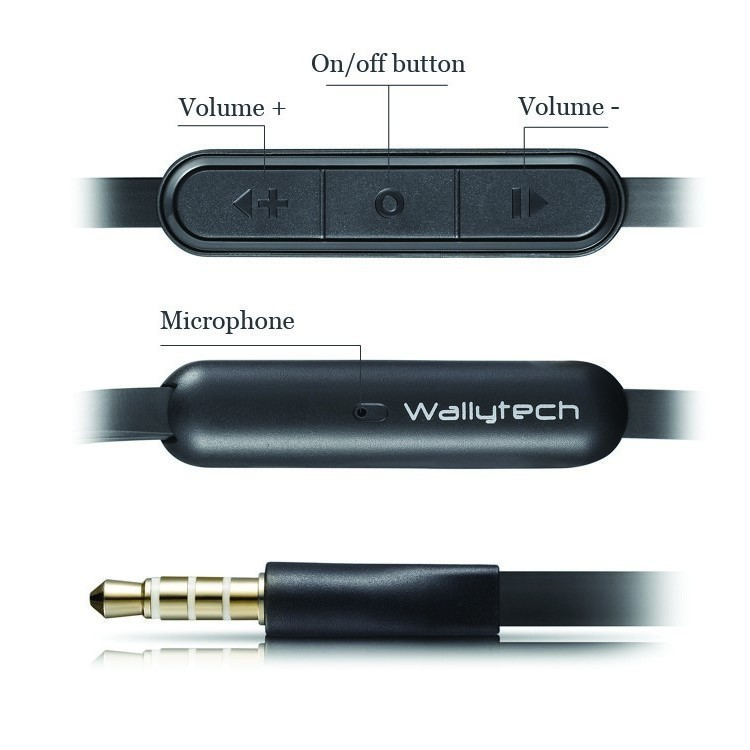 Wallytech WHF-107 flat cable earphone with  mic volume remote for samsung galaxy mic