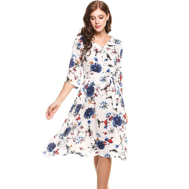 Angvns Casual Flower Print Dress Dresses Las Summer Elegant Vestidos 2017 Women 3 4 Sleeve Linen Tropical Party