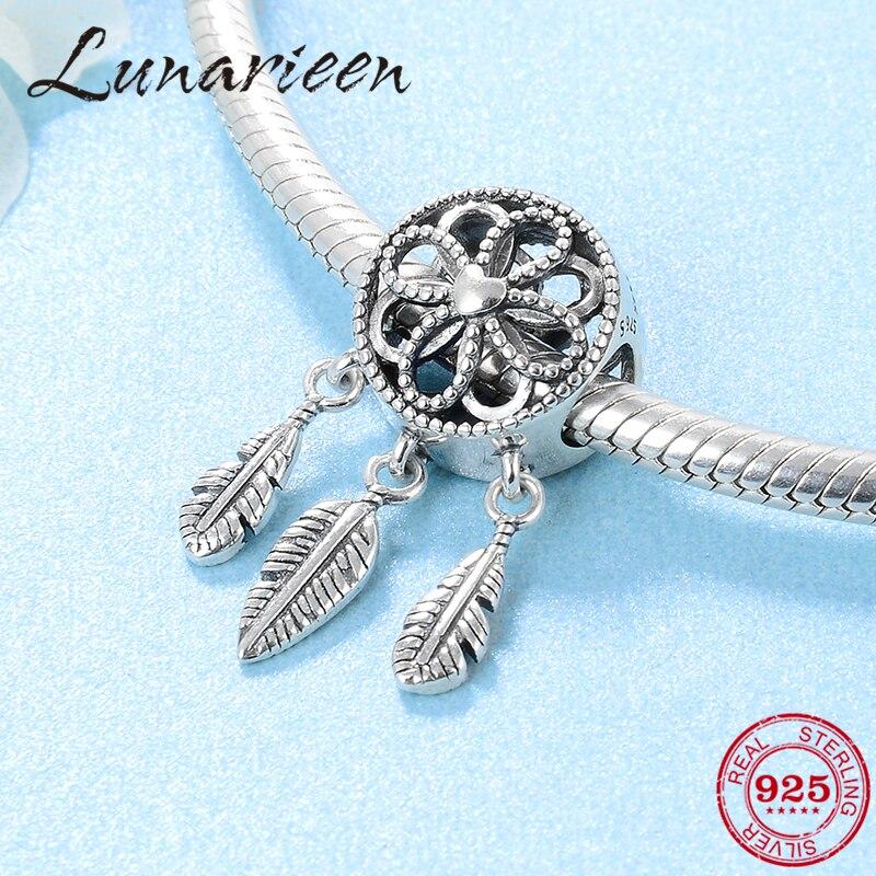 f0d611182f34 Nueva moda 925 de plata esterlina plumas y flores colgantes finos granos  Original Pandora Charms ...