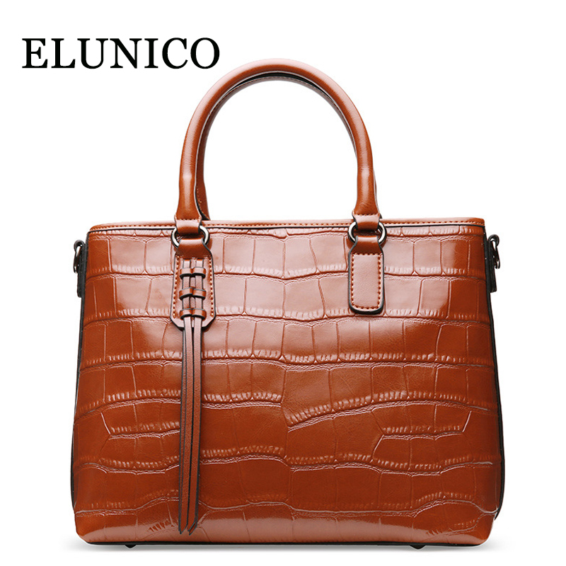 ELUNICO 2018 Summer Crocodile Pattern Split Leather Handbag Women Portable Shoulder Bags Handbags Women Famous Brands Tote Bag детская футболка классическая унисекс printio bart deadpool