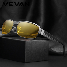 VEVAN Brand Vintage Aluminum Night Vision Polarized Sunglasses Men Rectangle Sun Glasses Male UV400 Driving lentes de sol hombre