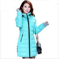 New Winter 2015 Leisure Women Zipper Hooded Slim Coat With Thick Cotton Padded Long Jacket