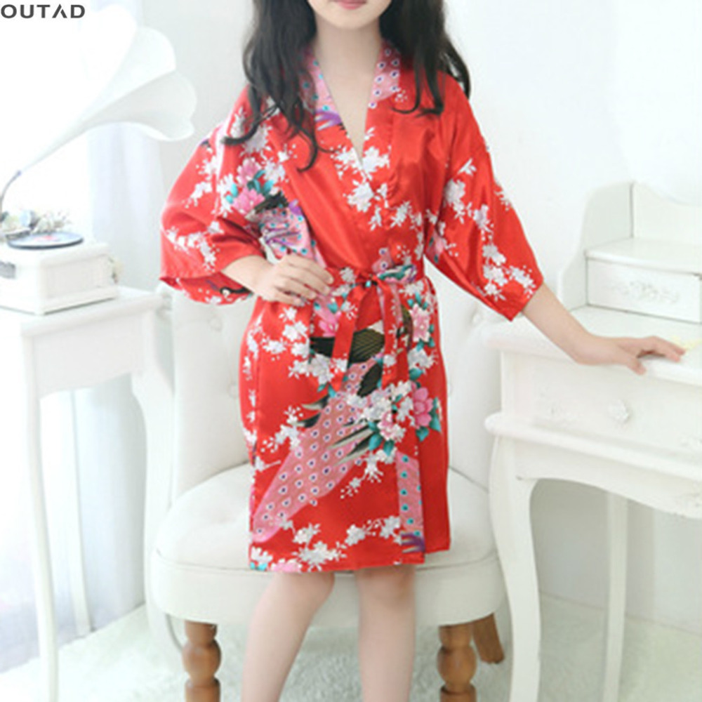 29e2d18a0c OUTAD Comfortable Kids Girls Floral Printed Satin Robe Fashionable Satin Pajama  Sleepwear For Wedding Party Wearing New arrival