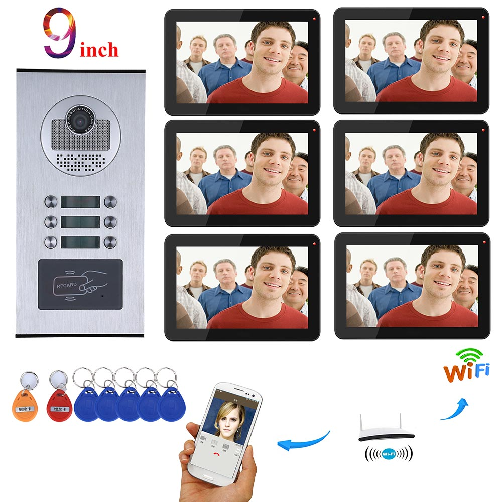 9 Inch Wired Wifi Apartments Video Door Phone Intercom System RFID IR-CUT HD 1000TVL Camera With 3/4/5/6/12 Apartment/Family